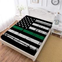 Oliven Fitted Sheet Queen Size American Flag Printed Bed Elasticized Sheet Deep Pocket Sheet 1 Piece Home Decor