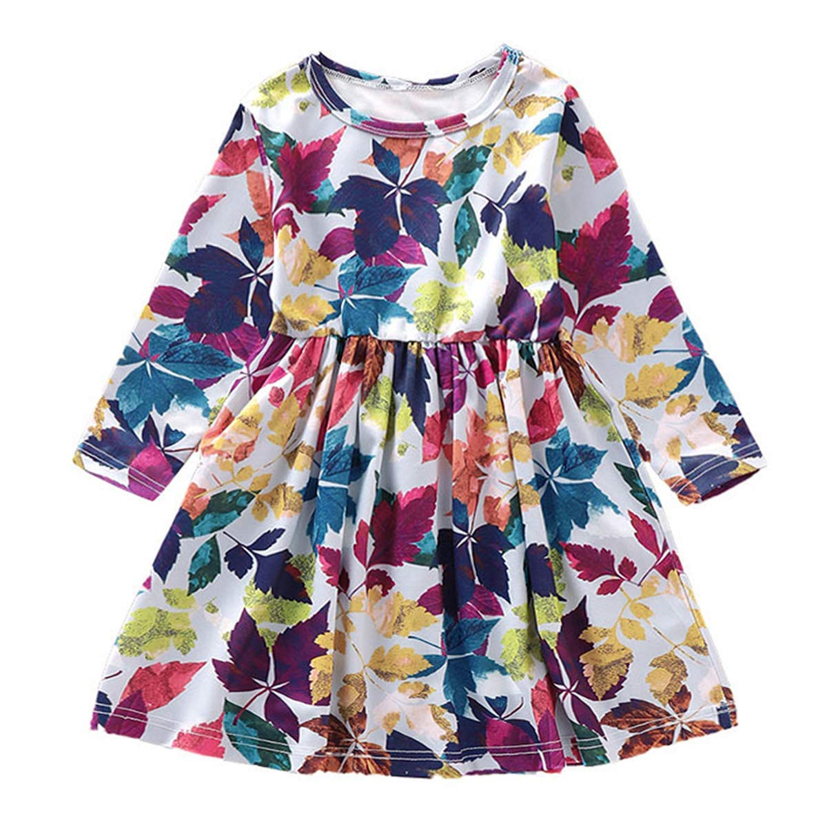 Toddler Baby Girl Clothes Denim Ruffle Sunflower Dress Long Sleeve Floral Skirt Outfit Princess Sundress