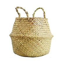 SAVORLIVING Woven Basket Multipurpose Seagrass Belly Basket Storage Basket with Handles for Storage, Laundry, Picnic, Plant Pot Cover, and Beach Bag (XXL)