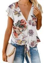 Tiksawon Women's Sexy V Neck Button Down Tie Front Summer Tops Short Ruffle Sleeve Chiffon Blouses Shirts