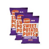 Spudsy Crunchy Cinnamon Sweet Potato Puffs | 3 Pack | 4 oz Bags | Vegan, Gluten Free, Kosher, Allergen Free, Plant Based | Made W/ Upcycled Sweet Potatoes | Antioxidant Superfood | Clean, Sustainable
