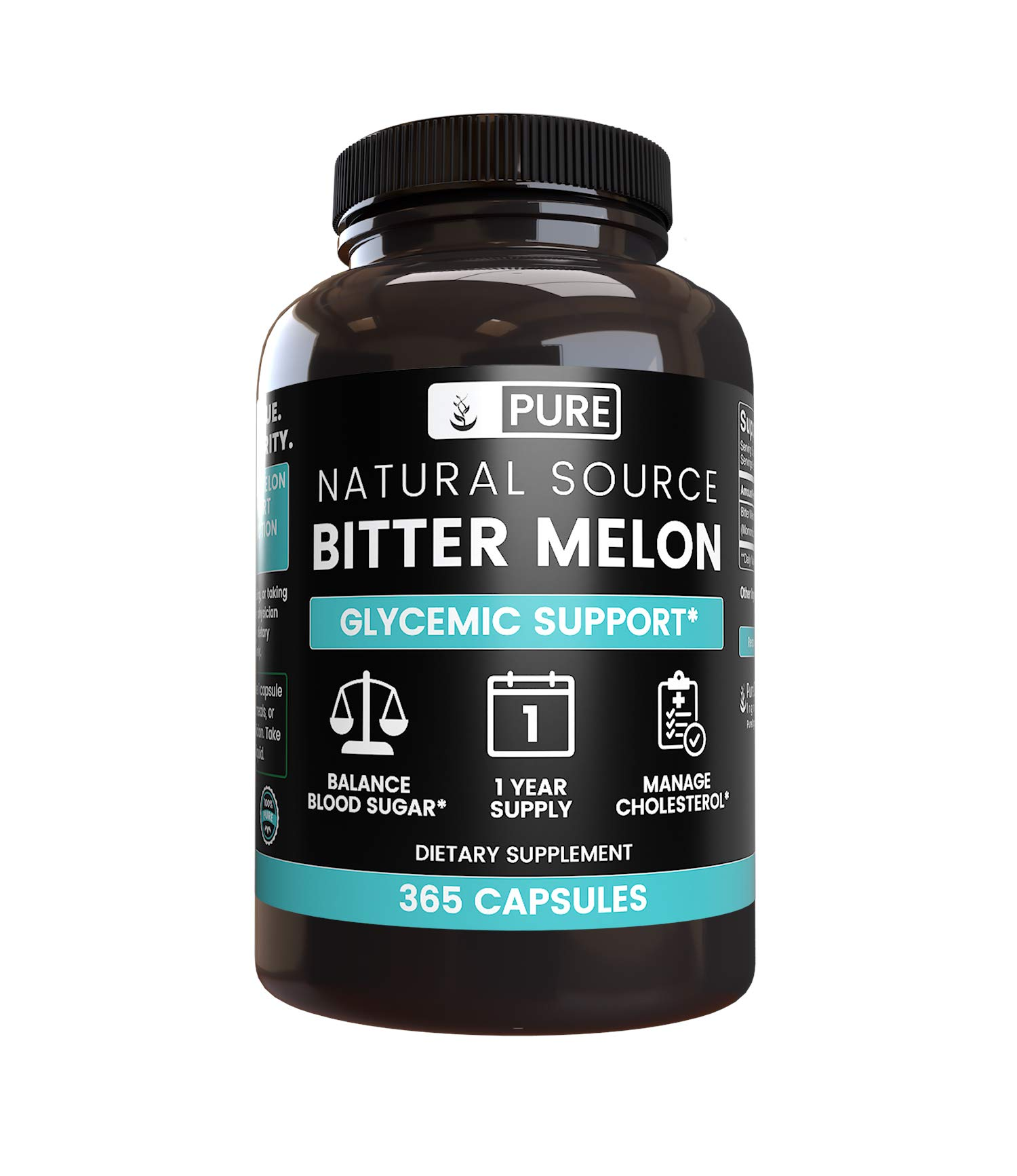 Natural Source Bitter Melon, 365 Capsules, 1 Year Supply, No Magnesium or Rice Filler, No Gluten, No Soy or Dairy, 415 mg per Serving of Undiluted Bitter Melon with No Additives