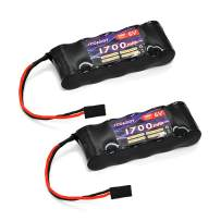 FCONEGY 2 PCS Receiver Battery NiMH Battery Pack 6.0V 1700mAh 5-Cell Flat Pack with BBL2 Plug for RC Transmitter and Receiver