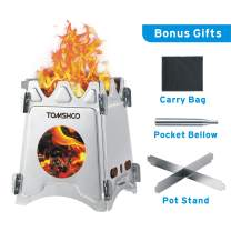 TOMSHOO Camping Wood Stove Portable Folding Lightweight Stainless Steel Wood Burning Backpacking Stove for Outdoor Survival Cooking Picnic Hunting