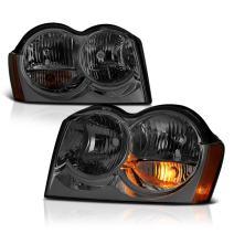 VIPMOTOZ Chrome Smoke OE-Style Projector Headlight Headlamp Assembly For 2005-2007 Jeep Grand Cherokee, Driver & Passenger Side