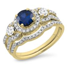 Dazzlingrock Collection 14K Gold Blue Sapphire & White Diamond Ladies 3 Stone Halo Bridal Engagement Ring with Matching Band Set