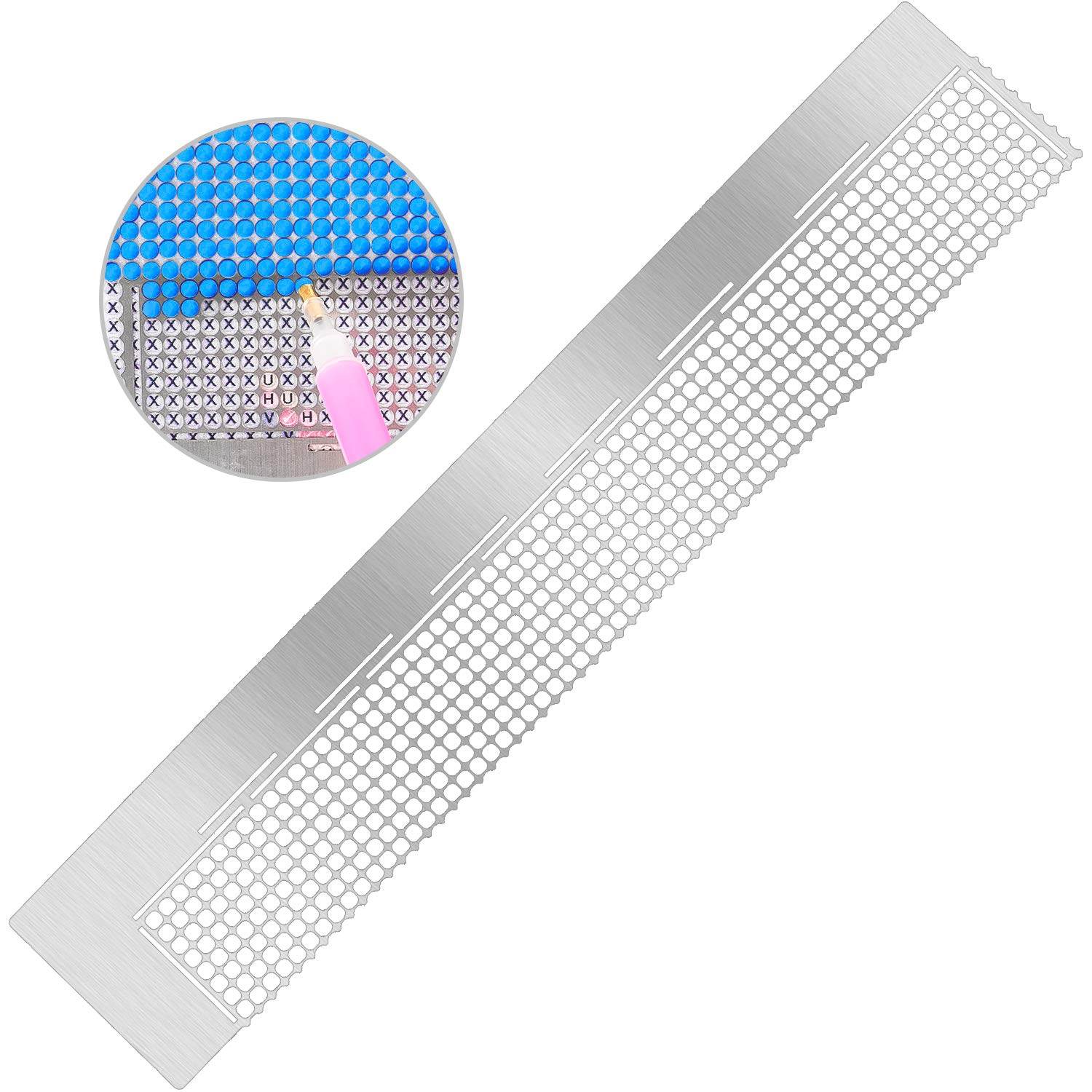 Whaline Diamond Painting Tool Stainless Steel Ruler Diamond Drawing Tool with 520 Blank Grids for Diamond Painting Round Full Drill & Partial Drill