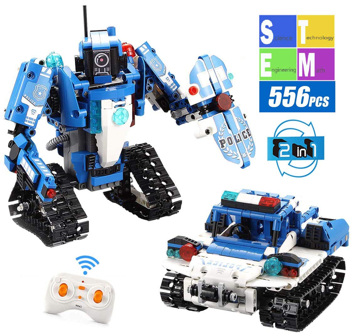 Mould King 2 in 1 Building Block Robot Policemen Toy with Remote Control Robot Engineering Science Education Mathematics Kit Robot Set Gift for 6 7 8 9 10 11 12 Years Old Boys Girls (556 Pieces)