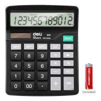 Calculator, Deli Standard Function Desktop Basic Calculators with 12 Digit Large LCD Display, Solar Battery Dual Power Office Calculator, Black