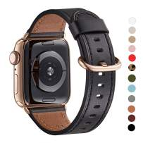 WFEAGL Compatible iWatch Band 40mm 38mm, Top Grain Leather Band with Gold Adapter (The Same as Series 5/4 with Gold Stainless Steel Case in Color) for iWatch Series 5/4/3/2/1(Black Band+Gold Adapter)