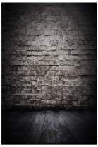 AIIKES 5x7FT Black Wooden Photo Backdrop Vinyl Wood Photography Backdrop Brick Wall Background Custom Birthday Party Photographic Photo Studio 10-391