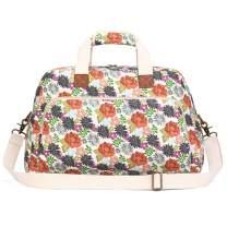 Plambag Canvas Overnight Bag for Women, Floal Design Travel Duffel Weekender Bag