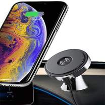 Directtyteam Phone Car Mount - 10W Qi Fast Charging 360° Rotation Magnetic Dashboard Cell Phone Holder for Car, Nanofilm Adsorption, Compatible Galaxy, iPhone, with 2 Pcs Nano Glue
