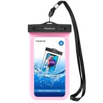 MoKo Waterproof Phone Pouch, Underwater Cellphone Case Dry Bag with Lanyard Armband Compatible with iPhone 11/11 Pro Max, X/Xs/Xr/Xs Max, 8/7/6 Plus, Galaxy S10/S9/S8 Plus, S10e, S20, Note 10, Pink