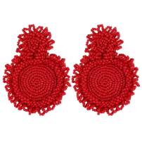 Cukeyouz Statement Beaded Drop Earrings for Women - Bohemian Round Dangle Earrings, Idea Gift for Mom, Sister and Friends (Y0012)
