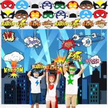 POKONBOY Backdrop for Party Supplies, 7ft Backdrop, 16 Masks & 8 Photo Booth Props - Birthday Party Supplies Decorations