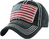 BHM-205-AF-RWB-06 Mens Baseball Cap - American Flag (Red White Blue) - Black