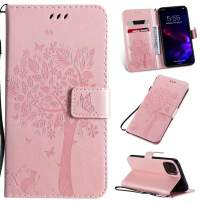 Cmeka 3D Cat Tree Flower Butterfly Wallet Case for iPhone 11 2019 6.1 inch Slim Flip Leather Protective Case Magnetic Closure Credit Card Slots Holder Kickstand Function Rose Glod