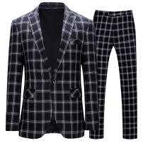 Mens Slim Fit Checked Dress Suit Peaked Lapel One Button Casual Business Daily 2 Piece Suit Set