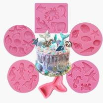 AK ART KITCHENWARE 6pcs Seashell Mermaid Silicone Cake Mold for Decorating Cookie Cupcake Fondant Mold Candy Mold Bakeware Pink