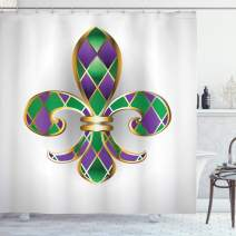 """Ambesonne Fleur De Lis Shower Curtain, Golden Yellow Colored Lily with Diamond Shapes Royalty Theme, Cloth Fabric Bathroom Decor Set with Hooks, 70"""" Long, Green Purple"""