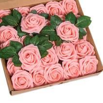 YSBER Roses Artificial Flowers - 25Pcs Big PE Foam Rose Artificial Flower Head for DIY Wedding Bouquets Centerpieces Bridal Shower Party Home Decorations (25 PCS, Pink)