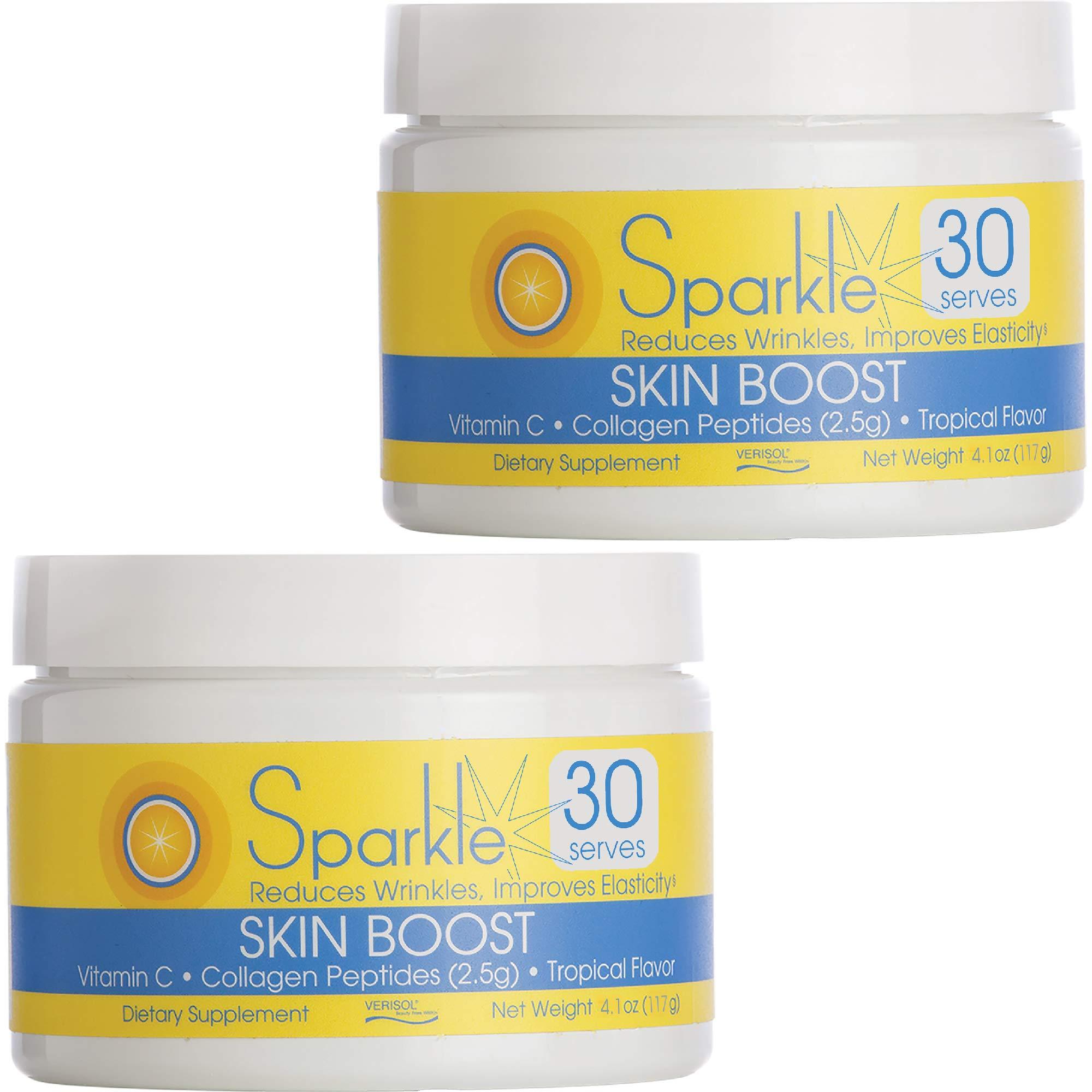 Sparkle Skin Boost (Tropical Coconut Pineapple) [2-Pack of 30-Serves] Verisol Collagen Peptides Protein Powder Vitamin C Supplement Drink