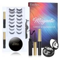 Magnetic Eyelashes with Eyeliner Kit, EverNice 10 Pairs Eyelashes Magnetic 2021 Upgraded 3D Natural Waterproof Reusable Eyelashes Kit with Mirror Box, False Eyelashes and Eyeliner