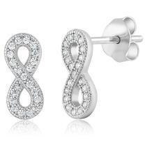 925 Sterling Silver Infinity Shape Stud Earrings Set with Zirconia from Swarovski