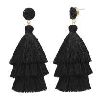 SHEGRACE Layered Tassel Earrings Tiered Thread Drop Earrings for Women Bohemian Christmas Jewelry Gifts