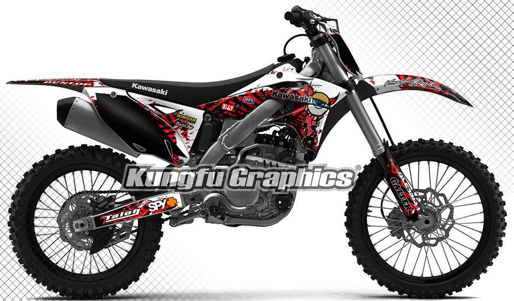 Kungfu Graphics Custom Decal Kit for Kawasaki KX250F KXF250 KXF 250 KX 250F 2013 2014 2015 2016, Black White Red, Style 018