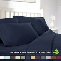 Luxury Bed Sheet Set - Soft MICRO SILK Sheets - Full Size, Navy Blue - with Pure Natural ALOE VERA Skin Soothing Moisturizing Treatment - Healthy Calming Properties Will Make You Have A Relaxed and Refreshed Sleep - Highest Quality with Strong Stitching Will Make Your Sheet Set Last For Many Years - Get the Luxurious Look and Silky Feel No Other Sheet Set can Offer - Clara Clark