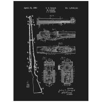 "Inked and Screened SP_Milt_1,892,141_BL_24_W M1 1,892,141-J.C. Garand Print, 18"" x 24"", Black Licorice - White Ink"