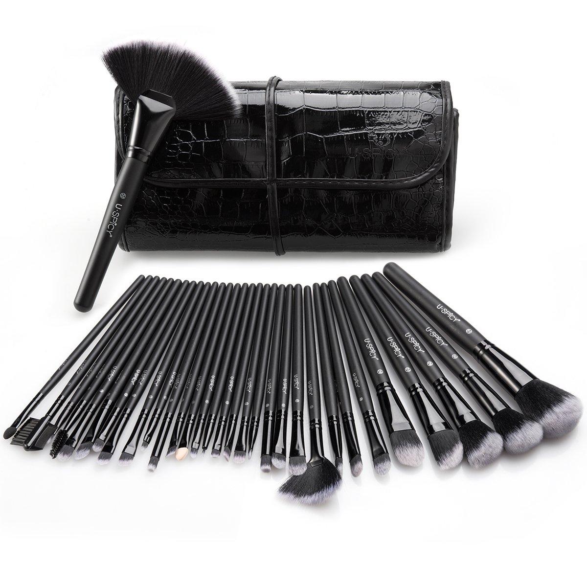 Makeup Brush Set, USpicy 32 Pieces Premium Professional Makeup Brushes Essential Cosmetics With Case, Face Eye Shadow Eyeliner Foundation Blush Lip Powder Liquid Cream Blending Brush-Black