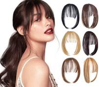 XBwig Clip in Bangs Fringe Hairpieces Hair Extensions One Piece Straight Cute Layered Front Neat Air Bang with Temples (Ash Blonde-Air Bangs)