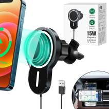 Magnetic Wireless Car Charger, 15W Qi Fast Charging Air Vent Car Mount, [for Magsafe Fast Charging] Magnetic Wireless Car Phone Mount Holders Compatible with iPhone 12/12 Pro/12 Pro Max/12 Mini