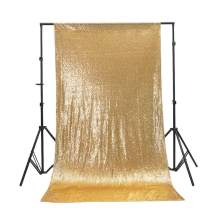 TRLYC Gold Shimmer Sequin Photography Backdrop Sequin Curtain Seamless Backdrop 5x6FT for Wedding/Party
