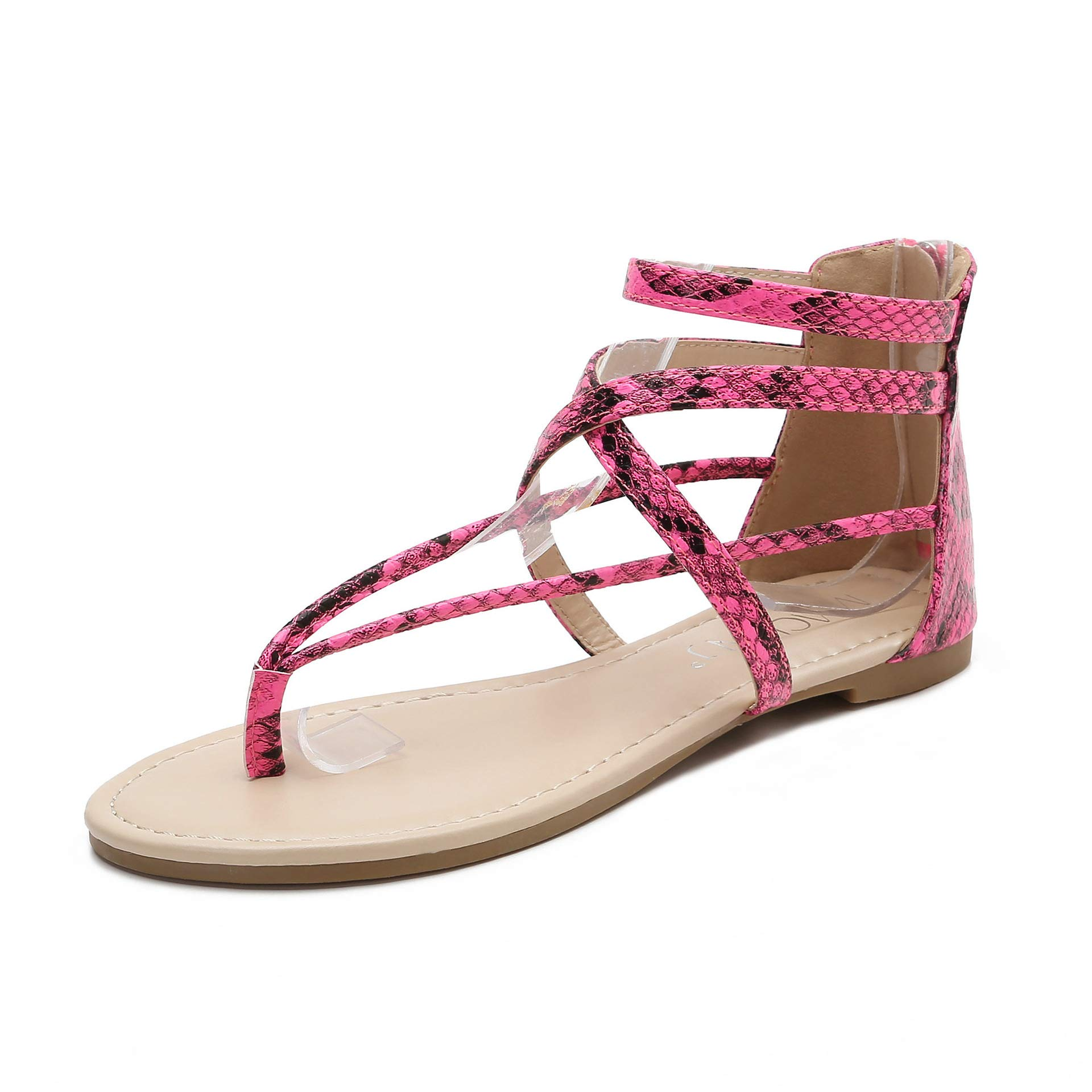 MACKIN J 566-1 Women's Gladiator Sandals Thong Flats Ankle Strap Zip Flat Sandals