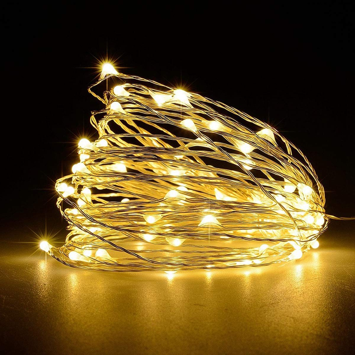 Battery Operated Fairy String Lights, Led Mini String Lights 50 LED 16.5 FT Battery Powered Copper Wire Starry Fairy Lights for Indoor Outdoor Wedding Home Garden Party Decoration(Warm White)