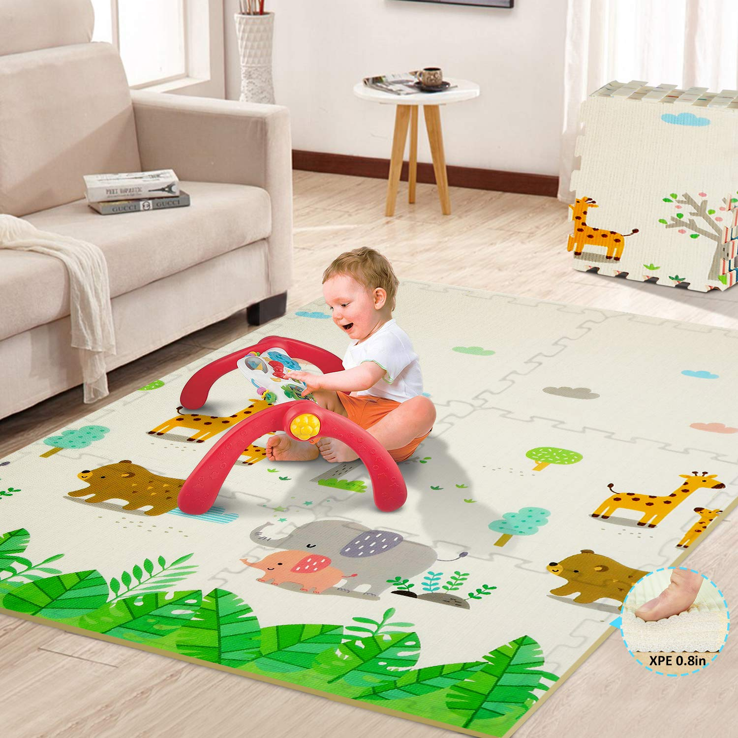 Baby Play Mat Large Foam Mat Extra Thick Playmat for Kids Waterproof Splicing Crawling Mat Puzzle Floor Mat Expandable Tiles with Edges for Babies & Infants & Toddlers
