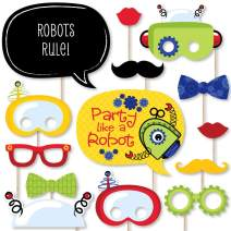 Big Dot of Happiness Robots - Baby Shower or Birthday Party Photo Booth Props Kit - 20 Count