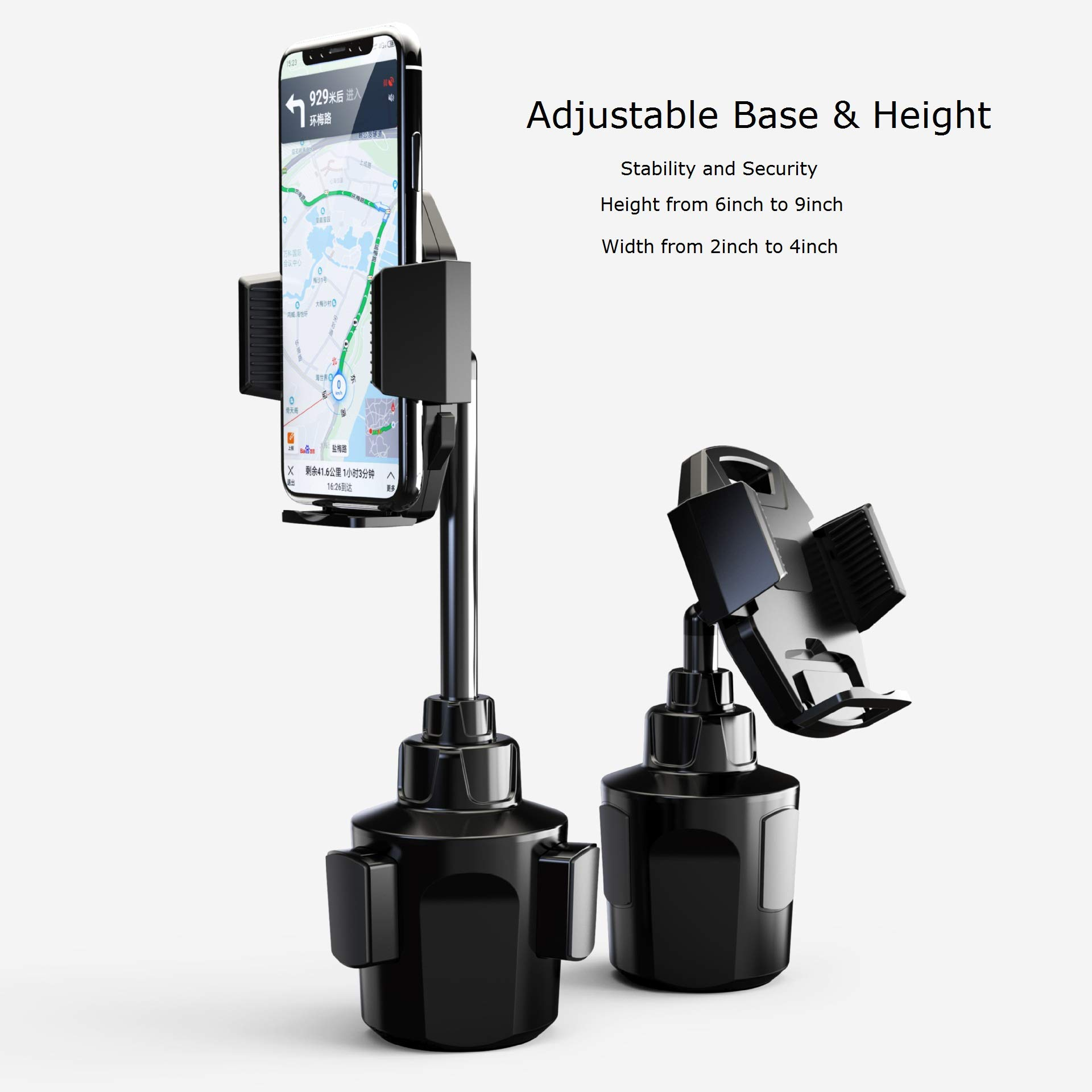 Galaxy Wireless Cup Holder Phone Mount, Height Adjustable Metal Stand Car Phone Cradle Fit for All Smartphones for iPhone 11 Pro/11 Pro Max/XR/XS/XS Max/X/8/7, Galaxy S10/S10 Plus Note 9/Note 10 Plus