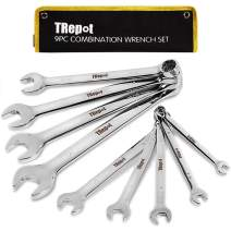 """Trepot 9-Piece Premium Combination Wrench Set, Max Torque Open End and Box End Tool Set, Complete SAE Inch Sizes from 1/4"""" to 3/4"""" , Long Pattern, Mirror Chrome Finish"""