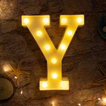 Brightown Decorative LED Marquee Letter Lights 26 Alphabet Light Up Letters Sign for Wedding Birthday Party Night Light Home Bar Decoration Battery Operated (Y)