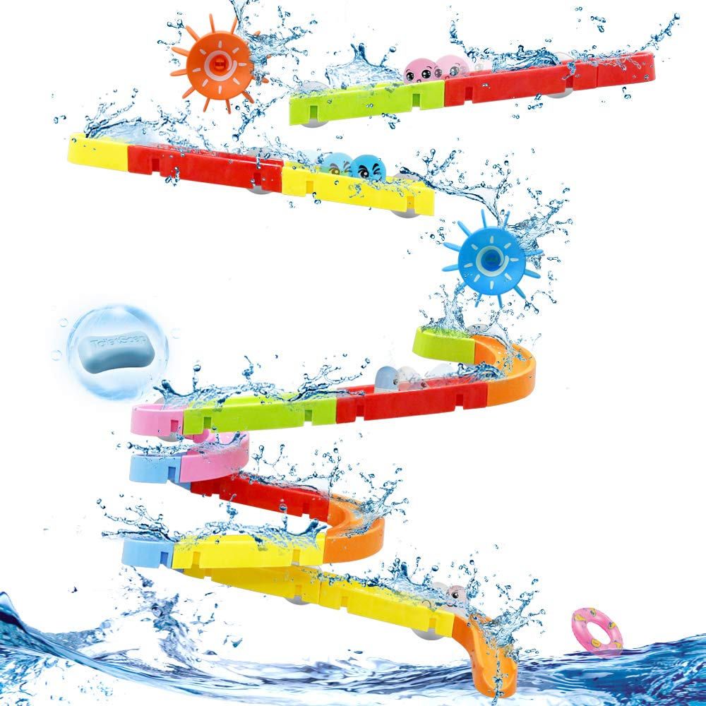 LBLA Kids Bath Toys for Toddlers Fun Slide Water Ball Track Stick to Wall Bathtub DIY Waterfall Pipe and Tub Toys with Suction Wheels Gift for Boys Girls 38 Piece