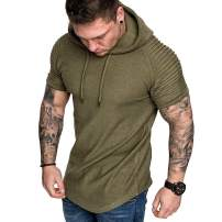Athletic Men's Hoodies T Shirt - Short Sleeve Hoodies Pullover Slim Workout Sport Cotton Muscle Shirt Top