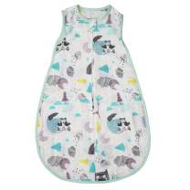 BLOOMSTAR Baby Sleeping Sack Muslin Summer, Soft Cotton Wearable Blanket, Baby Sleep Bag Breathable,2 Way Zipper,0.5 TOG