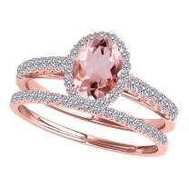 0.80 Ct. Ttw Morganite And Diamond Bridal Set In 10K Rose Gold