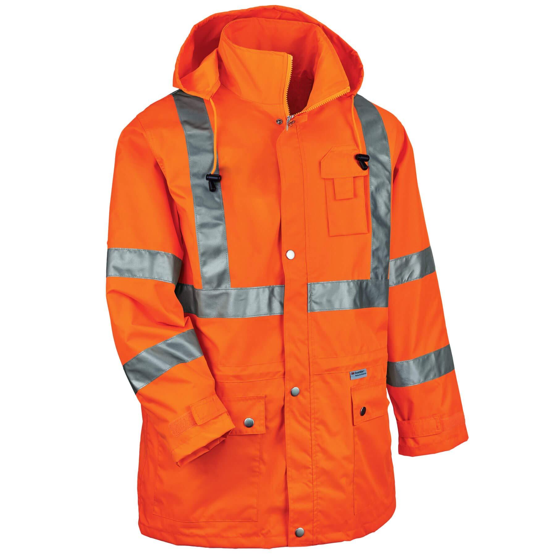 Ergodyne GloWear 8365 Rain Jacket, High Visibility, Reflective, ANSI Compliant