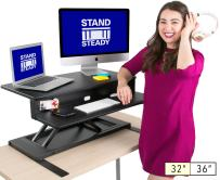 "Stand Steady Flexpro Air 32 inch - Two Level Standing Desk - Instantly Convert Any Desk to a Stand Up Desk -Perfect for Home, School, or Corporate Office. No Assembly Required! (Black 32"")"